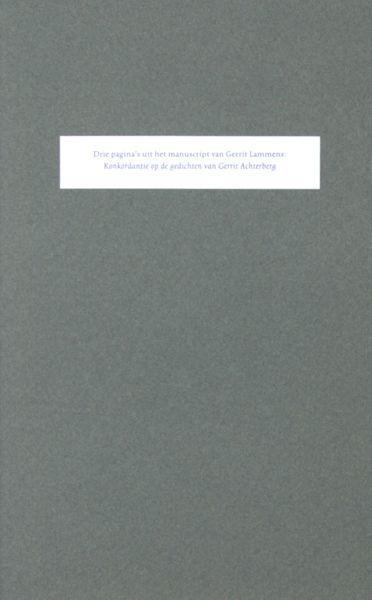 Achterberg - Lammens, Gerrit. Drie pagina's uit het manuscript van Gerrit Lammens.