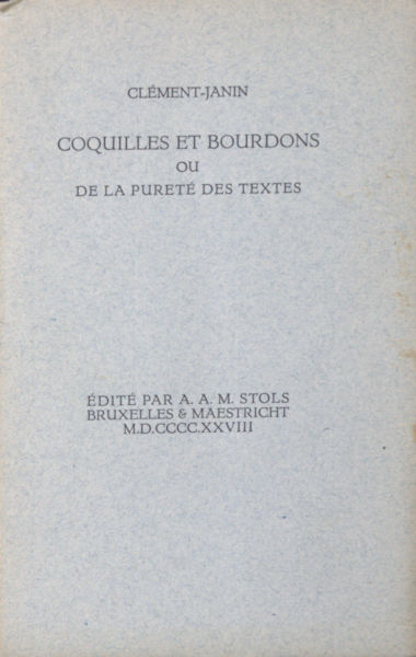 Clément-Janin, (N.). Coquilles et bourdons.