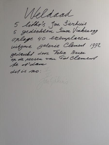 Vinkenoog, Simon & Jan Sierhuis. Weldaad.