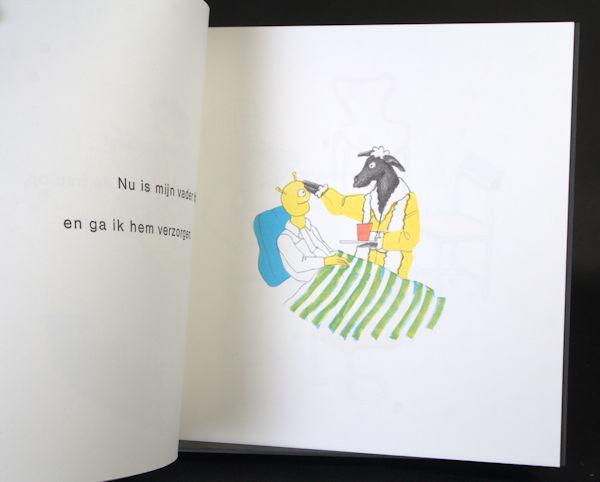 Vries, Joost de & Eva Schulte Noordholt. De lucht is rood en ook de maan en de sterren. Een waargebeurd verhaal verteld door Joost de Vries, 3 jaar, getekend door Eva Schulte Nordholt.