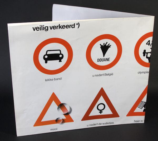 Werner, Ad. Affiche met alternatieve verkeerstekens: U nadert de Walletjes, Hotel Garni, Vrij-ingang, Nieuw Links, Naar de Hemel, Drive-in zwembad.