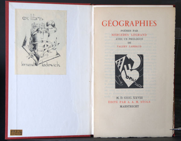 Legrand, Mercedes. Géographies. Poèmes avec un prologue de Valery Larbaud.